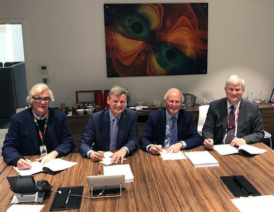 Pictured at the signing of our independence agreement are NERC Executive Chair Prof Duncan Wingham, UKRI Chief Finance Officer Mike Blackburn, UKCEH Chair of Trustees Lord Cameron and Executive Director Prof Mark Bailey