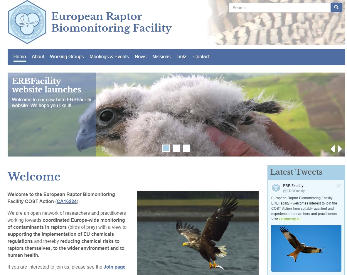 European Union COST Action European Raptor Biomonitoring Facility website