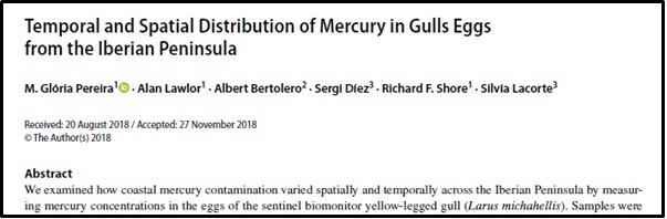 Mercury in gulls eggs