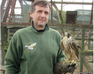Simon Dudhill holding a peregrine falcon